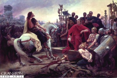 Vercingetorix Throws Down His Arms at the Feet of Caesar by L Royer.