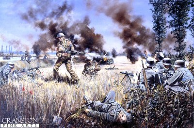 Lance-Corporal Harry Nichols, 3rd battalion Grenadier Guards, winning the Victoria Cross at the River Escaut, 21st May 1940 by David Rowlands. (GL)