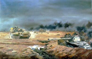 DHM608. Scimitars of the 16th / 5th the Queens Royal Lancers in Action by David Rowlands. <p> The 16th / 5th shown during the operation Objective Lead, The Gulf war 26th February 1991. <b><p> Signed edition.  <p>Image size 17 inches x 12 inches (43cm x 31cm)