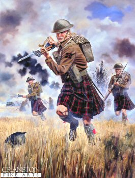 DHM610.  The Charge of the 1st Battalion Queens Own Cameron Highlanders by David Rowlands. <p> 1st Battalion in action at Escaut Canal, Belgium, May 1940. The last Highland Regiment to wear a kilt in battle, attacking the Germans at the River Escaut.  From the Diary of Captain R. Leah, 1st Battalion, Queen&#39;s Own Cameron Highlanders : Tuesday 21st May : Bn left Ere about 2 a.m. to march back. Fortunately Coy Cmdr. were required for some sort of recce and we went in C.O.s car.  Arrived Taintignies 3 a.m. and self went out again with Wilkie in C.O.s car to look for for C Coy which had gone astray, and to see Q.M. about Bn rations in Wez-Velvain.  Could not find either.  Met the Battalion arriving from Ere when I left the village at 3 a.m.  Got back myself at 4 a.m. found empty house which I entered by window and slept well for 5 hours. Officers mess going in house beside M.T. park, and had good breakfast.  Fairly quiet morning and orders to move this afternoon to Bn assembly position S of Wez-Velvain.  Thence we were directed to Merlin and prepared for counter-attack to drive enemy off Western side of Escaut.<b><p> Unsigned edition <p> Image size 12 inches x 17 inches (31cm x 43cm)