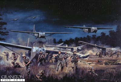Chindits landing at Broadway, Burma, 5th / 6th March 1944 by David Rowlands.