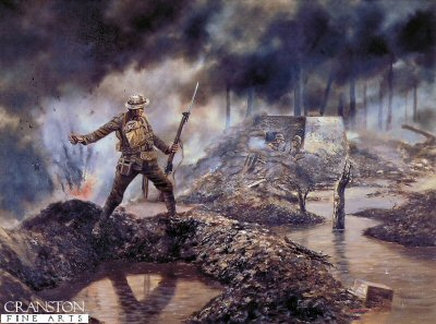 Sgt. Robert Bye VC, 1st Battalion Welsh Guards near Langemarck by David Rowlands.