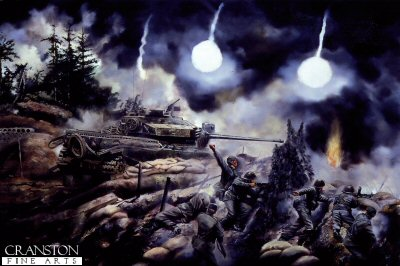 DHM614. Battle of the Hook, Korea by David Rowlands. <p> During the static phase of the Korean War, tanks were emplaced in hull-down positions among the entrenched infantry companies on commanding hilltops, from where the accurate, direct fire of their 20-pounder guns dominated the surrounding terrain. They were also armed with co-axial Besa machine-guns. The tanks were protected from shellfire by sandbags and earth-filled ammunition containers. Along with the crew&#39;s &#39;hutchie&#39;, ammunition bunkers were dug in beside the tanks.  By night, both sides patrolled aggressively in no-man&#39;s-land up to the opposing lines. Massed enemy infantry attacks occurred at night, and the supporting fire of tanks was an important adjunct to Divisional artillery. In May 1953 the Chinese mounted a fierce attack against the position known as the Hook. Throughout the action, the Centurions engaged the enemy and inflicted heavy losses.  In the eerie light of parachute flares, soldiers of 1st Battalion the Duke of Wellington&#39;s Regiment manned the trenches. The tanks themselves suffered on average five direct hits each from shells and mortars, without loss.  Over the gun barrel of the Centurion Mk 3 tank is an American searchlight, used to illuminate enemy patrols in no-man&#39;s-land at night. Several Centurions in Korea supplemented their firepower with .50cal. M2HB Browning machine-guns, obtained from the Americans or Canadians, on an &#39;ad hoc&#39; mounting. On the rear hull is hung a spare road-wheel, and the Royal Armoured Corps flash is shown, with the unit serial &#39;41&#39; superimposed. <b><p> Unsigned edition.  <p>Image size 17 inches x 12 inches (43cm x 31cm)