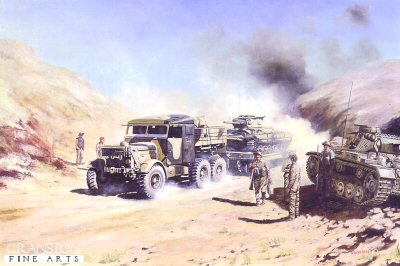 Scammell Tractor, Towing a Valentine Tank, North Africa, 1943 by David Rowlands.