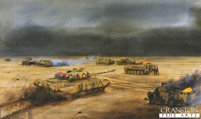 Headquarters 4th Armoured Brigade on Objective Copper South, Iraq 27th February 1991 by David Rowlands. (GS)