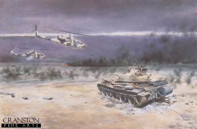 DHM625. Cobra Attack by David Rowlands. <p>AH-1 Whiskey Cobras of the US marine Corps in Action, Kuwait, February 1991.<b><p> Signed limited edition of 1000 prints.  <p>Image size 25 inches x 16.5 inches (64cm x 42cm)