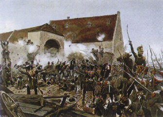 The Storming of La Haye Saint by Richard Knotel. (Y)