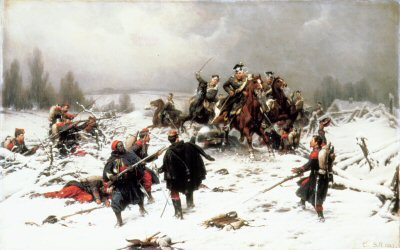 Attack by Prussian Uhlans by Christian Sell.