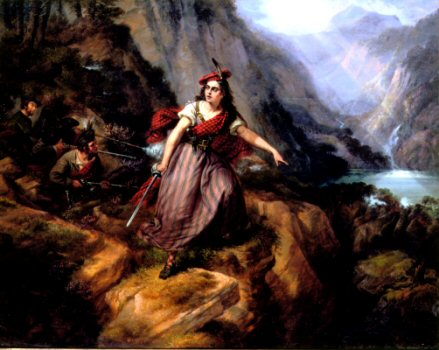 Helen MacGregor in the Conflict at the Pass of Loch Ard by Siegfried Detler Bendixon.