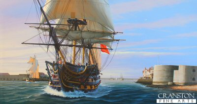 HMS Victory Departing Portsmouth by Ivan Berryman. (GS)