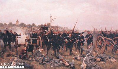Die Ersturmung Der Batterie V.D.Groeben in Chlum (Battle of Konnigsgratz) by Carl Rochling.