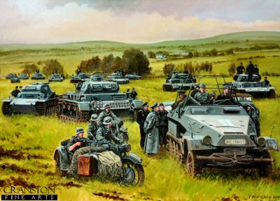 DHM6504PC. Panzercorps Guderian by David Pentland. <p> Sedan, Northern France, 16th May 1940. At the start of the invasion of France, seven Panzer divisions in three Corps were sent through the Ardennes forest, to cross the Meuse. Leading the southernmost column was General Heinz Guderian&#39;s XIX Panzercorps, comprising the 1st, 2nd and 10th Panzer divisons. Within three days they had reached and crossed the Meuse at Sedan, expanded their bridgehead and after a brief pause &#39;Der Schnelle Heinz&#39; or &#39;Fast Heinz&#39; panzers raced north west to the Channel coast. <b><p>Collector&#39;s Postcard - Restricted Initial Print Run of 100 cards. <p>Postcard size 6 inches x 4 inches (15cm x 10cm)
