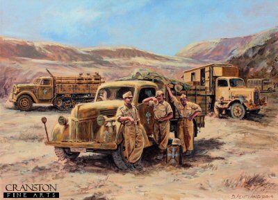 DHM6524PC. A Well Earned Rest by David Pentland. <p> Libyan Egyptian border, North Africa, June 1942. Afrika Korps Opel Blitz, Mercedes and Ford trucks, part of Rommel&#39;s supply columns take a welcome rest in a laager while waiting for their next orders, and preparations for the first battle of El Alamein.  <b><p>Collector&#39;s Postcard - Restricted Initial Print Run of 100 cards. <p>Postcard size 6 inches x 4 inches (15cm x 10cm)