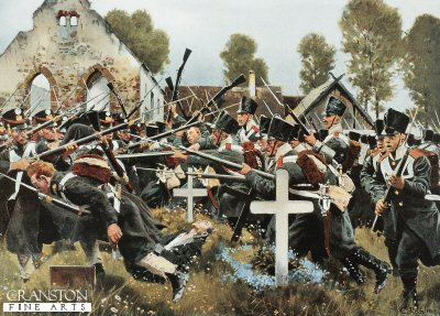 DHM654. Prussian Assault on the Church Yard, Kolberger Regiment at Grosbeeren, 23rd August 1913 by Carl Rochling. <b><p>  Open edition print. <p> Image size 17 inches x 12 inches (43cm x 31cm)