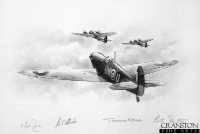 Escorting Blenheims to Le Trait - Spitfire W3455 of No.610 Squadron by Ivan Berryman. (P)