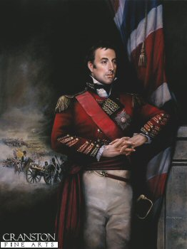 DHM663. Portrait of Wellington by Chris Collingwood. <p>  Arthur Wellesley is shown in his uniform of Lt. General (with the most honourable Order of the Bath) at the time of the Battle of Vimiero 21st August 1808. <b><p> Signed limited edition of 1150 prints. <p> Image size 17 inches x 24 inches (43cm x 61cm)