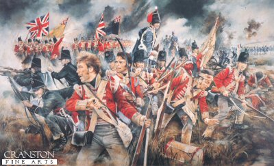 DHM669.  Battle of Waterloo by Chris Collingwood. <p> Officer and men of the 52nd Oxfordshire Light Infantry, flanked by the 95th Rifle Regiment at the turning point of the Battle of Waterloo 18th June 1815.<b><p> Signed edition print.  <p>Image size 21 inches x 13 inches (53cm x 33cm)