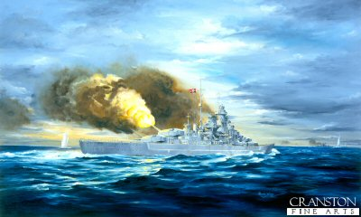 DHM714. Battle of the Denmark Straits by Randall Wilson. <p>With ssalvos landing close, the Bismarck with Prinz Eugen is shown loosing off the salvo that destroyed HMS Hood.<b><p> Signed limited edition of 1150 prints. <p> Image size 17 inches x 12 inches (43cm x 31cm)