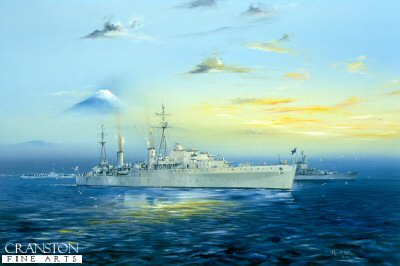 DHM716.  Slow Ahead by Randall Wilson. <p>H.M.A.S Hobart glides past Mount Fiji for the surrender ceremony with Missouri in the Background. Tokyo Bay 1945. <b><p> Signed limited edition of 1150 prints.  <p>Image size 17 inches x 10 inches (43cm x 25cm)