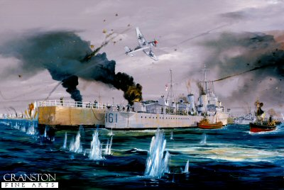 DHM732. Evacuation Dunkirk by Randall Wilson. <p> With the harbour under attack, HMS Express casts off having embarked troops of the British Expeditionary force (B.E.F.) Leaving with her are the trawlers, which were part of the small boat armada which played such a major part in the evacuation of Dunkirk. <b><p> Signed limited edition of 1150 prints. <p> Image size 25 inches x 15 inches (64cm x 38cm)