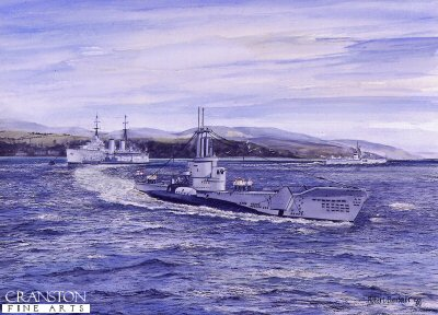 DHM747.  Group Up- Half Ahead Starboard by Robert Barbour. <p>A class submarine, HMS Anchorite, swings away from the depot ship Adamant during work up exercises in the Firth of Clyde. In the mid fifties the depot ship was moored in Rothesay Bay providing a base for the 3rd Submarine Squadron. Leaving the moorings ahead of Anchorite is the frigate HMS Termagant which will day part in the days exercise. <b><p> Signed limited edition of 1250 prints.   <p> Image size 17 inches x 12 inches (43cm x 31cm)