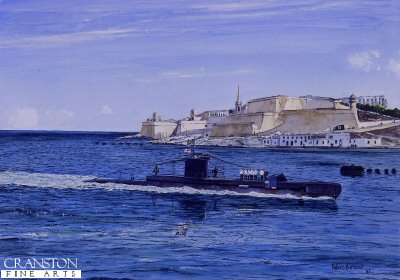 DHM749. The Malta Station by Robert Barbour.<p> HMS Unrivalled enters Valetta Harbour, Malta, under the command of Lt. Turner, flying the Jolly Roger signifying completion of another successful patrol. <b><p> Signed limited edition of 1250 prints. <p> Image size 17 inches x 12 inches (43cm x 31cm)