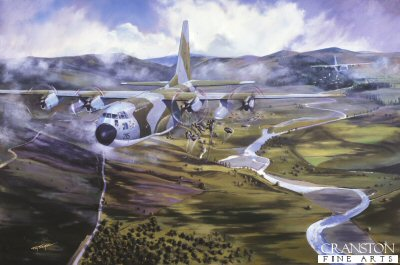 DHM772.  Low Level Para Drop by Tim Fisher. <p> Depicting a Hercules dropping Paras at low level. <b><p> Signed limited edition of 1150 prints. <p> Image size 17 inches x 12 inches (43cm x 31cm)