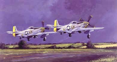DHM0780. Dove of Peace by David Pentland. <p> P51D of Colonel Glenn Duncan C.O. of the 353rd Fighter Group, along with Betty-E flown by Lt. Colonel Wayne Blickenstaff, taking off on one of their last missions of the war, April 1945. <b><p>Signed by <a href=signature.php?Signature=2154>Lt Col Donald S Bryan (deceased)</a>. <p> Bryan Signature edition of 200 prints from the signed limited edition of 1150 prints. <p> Image size 17 inches x 12 inches (43cm x 31cm)