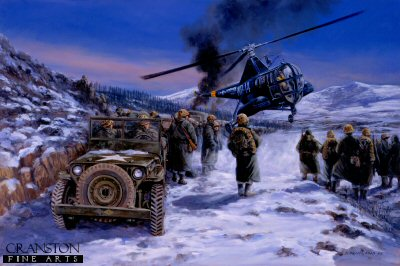 P785.  Frozen Chosin, Korea, December 1950 by David Pentland. <p>On 27th November 1950, thousands of Chinese troops swarmed over the frozen Yalu river on the North Korean /Chinese border, cutting off US Marines in the Chosin Reservoir area. Over the next ten days the marines with air support from both the Navy and Marine Air Wings fought their way out of the trap to Hungnam and safety.<b><p>Postcard<p> Postcard size 6 inches x 4 inches (15cm x 10cm)
