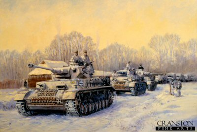 P786. Operation Winter Tempest by David Pentland. <p> Panzer IVF2 tanks of 6th Panzer Division, Panzer Armee Hoth, attempt to fight their way through to the beleaguered Sixth Army at Stalingrad, 12th December 1942.  On the 21st the operation was abandoned when the expected breakout from Stalingrad failed to materialise, the relief column was only 25 miles from the city.<b><p>Postcard<p> Postcard size 6 inches x 4 inches (15cm x 10cm)