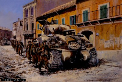 P791.  Anzio, Italy, February 1944 by David Pentland. <p>Replacements from 1st Battalion Irish Guards and Sherman tanks of the 46th Royal Tank Regiment move through the debris of Anzio town towards their jump-off positions for the Battle of Campoleone Station.<b><p>Postcard<p> Postcard size 6 inches x 4 inches (15cm x 10cm)