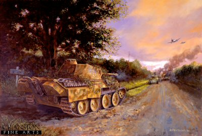 DHM0792B. Barkmanns Corner by David Pentland. <p> Ernst Barkmanns (Das Reich, 2nd SS Panzer Division) famous day long solo engagement against an American Armoured breakthrough towards St. Lo, Normandy, 26th July 1944. <b><p>Signed by Gerhard Fischer. <p>Gerhard Fischer Knights Cross signature series edition of 10 prints from the signed limited edition of 1000 prints. <p> Image size 25 inches x 16.5 inches (64cm x 42cm)
