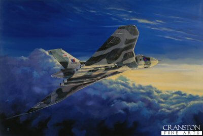 DHM793. Vulcan Twilight by David Pentland. <p>The Vulcan B2  takes off from Ascension Island to play a major role in Operation Corporate, the name given to the British military operation to retake the Falkland Islands.  The Vulcan would take part in the seven planned bombing missions during the Falklands campaign codenamed Operation Black Buck. Each mission would require a solo Vulcan Bomber (plus an airborne reserve Vulcan in case of problems with the first) to fly and bomb the Argentinean airfield at Port Stanley, requiring the support of 12 Handley Page Victor K2 tankers of 55 and 57 squadron on the outward journey and 2 Victors and a Nimrod on the return journey.<b><p> Signed limited edition of 1150 prints.  <p>Image size 23 inches x 14 inches (58cm x 36cm)
