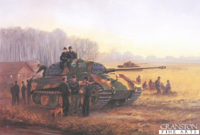DHM794. Tigers in the Mist by David Pentland. <p> King Tigers of Kampfgruppe von Rosen, 3rd Company Heavy Tank Battalion 503, preparing to move out from the Tisza bridgehead to counter Soviet pressure on German forces attacking to the northwest at Debrecen during the first battles to defend the Hungarian capital of Budapest. <b><p>  Signed limited edition of 1150 prints.  <p>Image size 25 inches x 16.5 inches (64cm x 42cm)