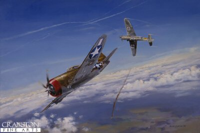 DHM0795C. Zemke&#39;s First Fan by David Pentland. <p> On the 12th May 1944, Col. Hubert Zemke tried his new fan tactic, designed to engage Luftwaffe fighters. Unfortunately on this occasion his aircraft was bounced by German ace Major Gunther Rall in his ME109 G-6AS, and escaped only by sending his P47-D Thunderbolt into a gut wrenching dive. <b><p> Signed by Major Erich Rudorffer (deceased). <p>Erich Rudorffer Knights Cross signature series edition of 200 prints from the signed limited edition of 1000 prints. <p> Image size 23 inches x 14 inches (58cm x 36cm)