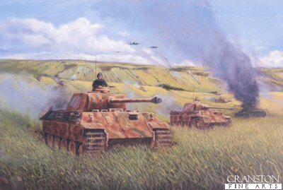 DHM797. Operation Zitadelle by David Pentland. <p> Panzer v Ausf. D Panthers of SS Panther Division Das Reich make their debut during the initial stages of the German summer offensive for Kursk. This unit with others of the SS Panzer Korps made the deepest advances into the well-prepared Soviet lines. Complete success however, was to elude them when outrunning their supporting divisions at Prokhorovka they were forced to halt for six days. <b><p> Signed limited edition of 1150 prints.  <p>Image size 25 inches x 16.5 inches (64cm x 42cm)