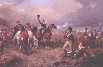 Wellington at the Battle of Waterloo by Robert Hillingford.