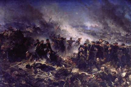 DHM806.  Siege of Sebastopol, by Alphonse de Neuville. <p>The British assault on the Redan failed but the French under General de Mac-Mahon managed to seize the Malakoff redoubt making the Russian defensive position untenable.<b><p>Open edition print. <p> Image size 17 inches x 12 inches (43cm x 31cm)