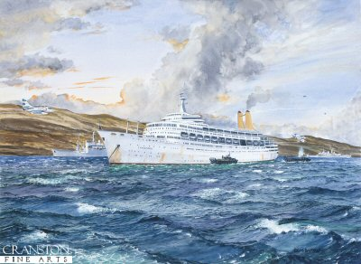 RMS Canberra, the Battle in bomb Alley by Robert Barbour (P)