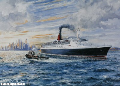 DHM810.  The Queen Elizabeth 2 Leaving New York by Robert Barbour. <b><p>Signed limited edition of 1150 prints. <p> Image size 17 inches x 12 inches (43cm x 31cm)