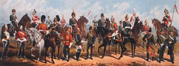 DHM811.  Cavalry Types of the British Army by Richard Simkin. <p>3rd Hussars, Trooper <br>16th Lancers, Trooper<br> 15th Hussars, Sergeant<br> 11the Hussars, Officer<br> 4th Dragoons Guards, Trooper<br> 2nd Life Guards, Trooper<br> 6th Dragoons Guards (Carabiniers) Officer<br> 18th Hussars, Trooper<br> 1st Life Guards, Officer<br> 13th Hussars, Officer<br> 12th Lancers, Trooper<br> 14th Hussars, Officer<br> 10th Hussars, Officer<br> Royal Horse Guards, Officer<br> 7th Dragoon Guards, Trooper<br> 5th Dragoon Guards Officer<br> 5th Lancers, Trooper<br> 4th Hussars, Trooper<br> 2nd Dragoons, Royal Scots Greys, Officer<br> 2nd Dragoon Guards (Queens Bays) Trooper<br> 1st Royal Dragoons Corporal<br> 7th Hussars, Trooper<br> 17th Lancers, Trooper.<b><p>Open edition print. <p> Image size 24 inches x 10 inches (61cm x 25cm)