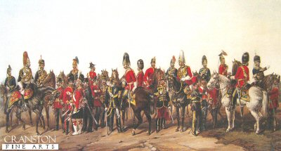 DHM813.  The British Army by Orlando Norie. <p>Showing military uniforms of the following regiments, The Military train, Royal Horse Guards, 15th Hussars, 23rd Fusiliers, Coldstream Guards, 5th Lancers 93rd highlanders, Rifle Bde, Staff Officers, Royal marines, 13th Light Dragoons, 2nd dragoon Guards, Grenadier Guards, 33rd Line Infantry, 11th Hussars, 14th Light Dragoons, 1st life Guards, Royal Artillery, Carabiniers, 74th Highlanders, Light Infantry, 16th lancers, Scots Greys, Royal Horse artillery, Royal Engineers. <b><p> Open edition print. <p> Image size 25 inches x 15 inches (64cm x 38cm)