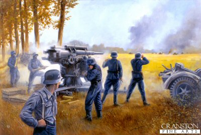 DHM840. Action at Arras, France, May 21st 1940 by David Pentland. <p> 88mm AA guns of the 23rd Flak Regiment, used as anti-tank guns by orders of Rommel himself, are shown firing on British Matilda tanks of 4th/7th Royal Tank Regiment. <b><p> Signed limited edition of 1150 prints.  <p>Image size 25 inches x 16.5 inches (64cm x 42cm)