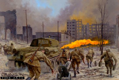 P843. Motherland, the Battle of Stalingrad, September 1942 by David Pentland. <p>OT34 Flamethrower tank and men of Col. Krickmans 6th Guards Tank Brigade take part in the Soviet counter attacks of 13th-27th September in defence of the southern factory district of Stalingrad before the final offensive in October.<b><p>Postcard<p> Postcard size 6 inches x 4 inches (15cm x 10cm)