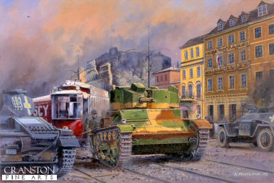 P844. Warsaw, September 1939 by David Pentland. <p>Polish 7TP (Twin Turret) light tank of Captain F. Michalowskis training company breaks out from the street barricade to counter attack German reconnaissance elements.<b><p>Postcard<p> Posycard size 6 inches x 4 inches (15c mx 10cm)