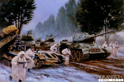 P845.  Breaking of the Pomperanian Wall by David Pentland. <p>T-34 85 tanks of the Polish Peoples Army Heroes of the Westerplatte 1st Armoured Brigade during the battle to break through the tough German defences of East Prussia.<b><p>Postcard<p> Postcard size 6 inches x 4 inches (15cm x 10cm)