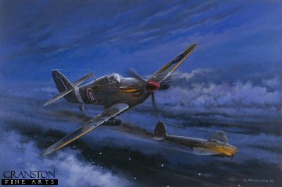 DHM0859H. Night Reaper, 4th May 1942 by David Pentland. <p> Hawker Hurricane IIc of top Czech ace Flt. Lt. K.M. Kuttlewascher, No.1 Fighter Squadron on a night intruder sortie from RAF Tangmere. On this mission he destroyed three Heinkel IIIs over their own airfield, St. Andre, in occupied France. <b><p>Signed by Wing Commander Roger Morewood (deceased),<br>Group Captain Byron Duckenfield AFC (deceased)<br>and<br>Flying Officer Ken Wilkinson. <p> Morewood / Wilkinson / Duckenfield signature edition of 200 prints from the signed limited edition of 1150 prints. <p> Image size 25 inches x 14 inches (64cm x 36cm)