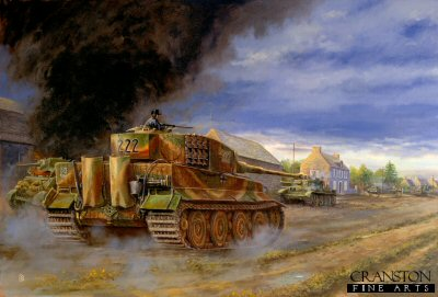 DHM860. Counter Attack at Villers Bocage by David Pentland. <p> A handful of Tigers from 2nd Kompanie SS Schwere Panzer Abteilung 101 halted the advance of the British 7th Armoured Division, The Desert Rats, outside the little Norman village of Villers Bocage.  Prowling through the streets of the village, the solitary tank of Hauptsturmfuhrer Michael Wittmann knocked out most of the 4th County of London Yeomanrys regimental HQ Stuart and Cromwell tanks, before falling victim to a 6pdr anti-tank gun.  Wittmann survived the battle but was killed a month later on August 8th 1944.<b><p> Signed limited edition of 1150 prints.  <p>Image size 25 inches x 16.5 inches (64cm x 42cm)