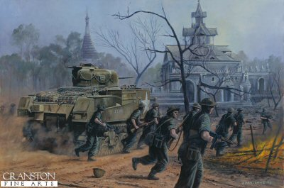 DHM862. Road to Mandalay, Burma, February 1945 by David Pentland. <p> M3 Lee tanks and troops from General Slims 14th Army clear Japanese resistance form the village of Ywathitgyi in their drive to Mandalay. <b><p> Signed limited edition of 1150 prints.  <p>Image size 25 inches x 16.5 inches (64cm x 42cm)