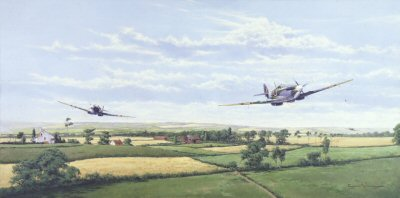 DHM871. Ranger by Graeme Lothian. <p> Before D-Day allied fighters ranged far and wide across the North of Europe. <b><p> Signed by <a href=aircrew_signatures.php?Signature=14>Commander Johnnie Johnson (deceased)</a>. <p> Limited edition of 1000 prints. <p> Image size 23 inches x 11 inches (59cm x 28cm)